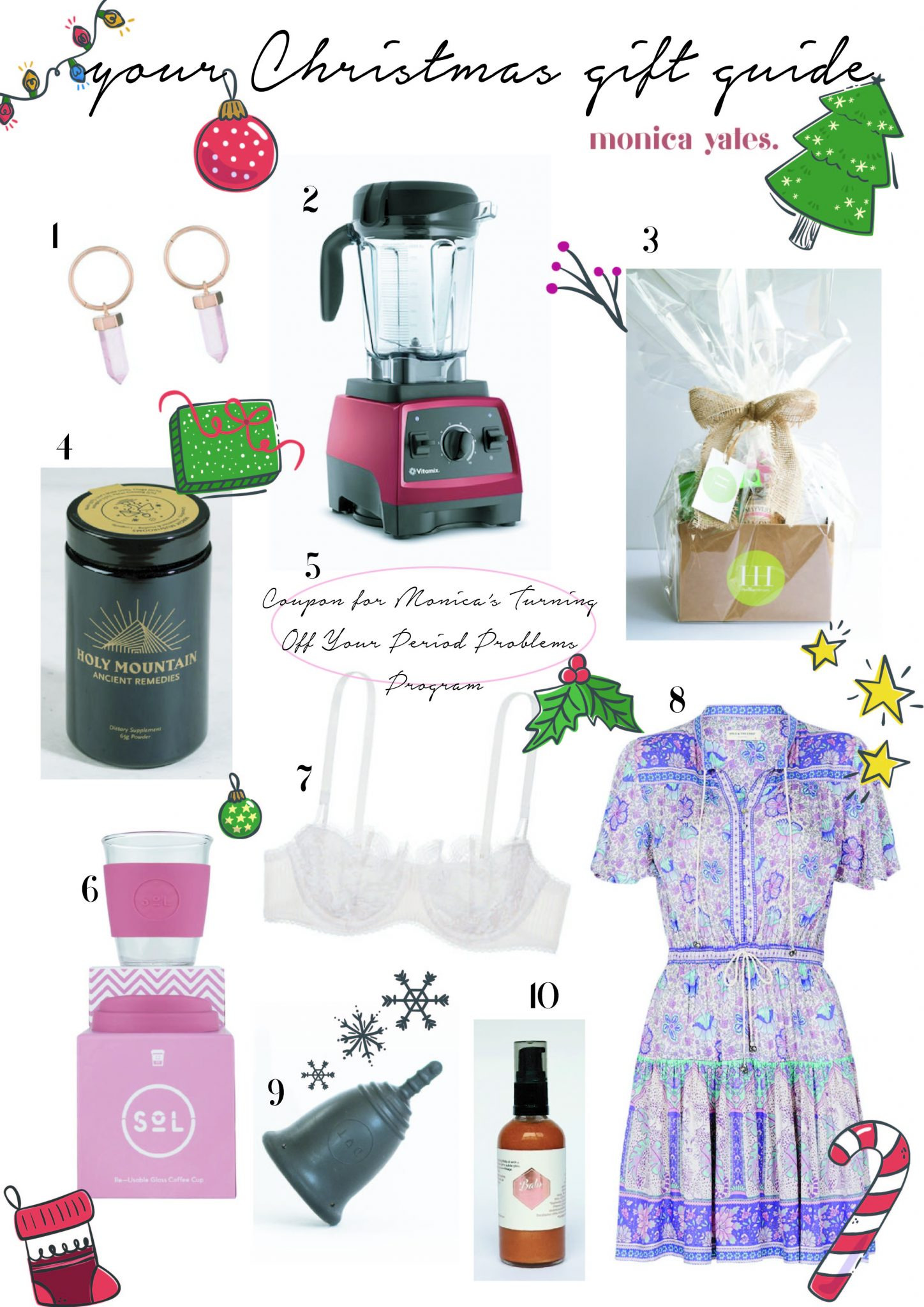 christmas gift guide | monica yates health | periods endo PCOS PMS fibroids hormones presents